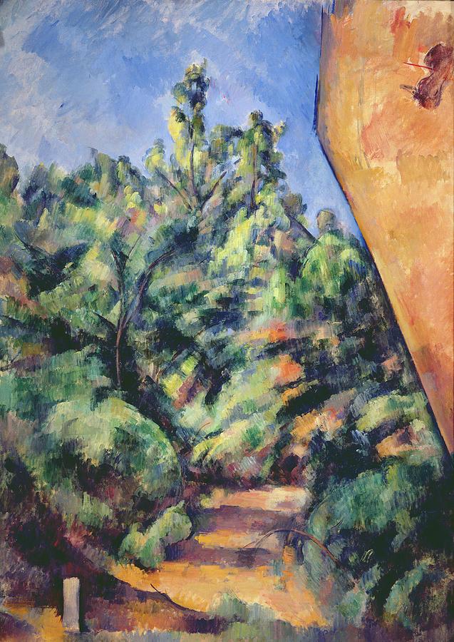 Landscape Painting - Red Rock by Paul Cezanne