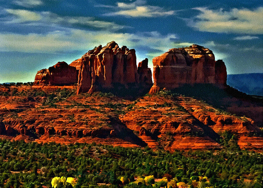 Red Rock State Park Painting - Red Rock State Park Arizona Sunrise by Bob and Nadine Johnston