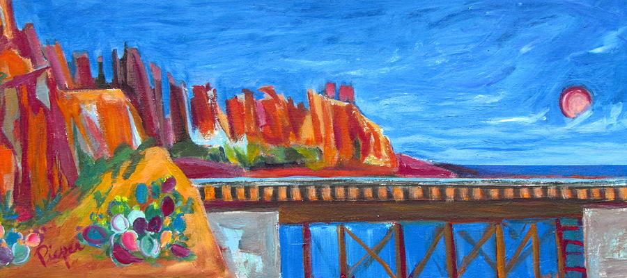 Red Rocks and Railroad Trestle by Betty Pieper