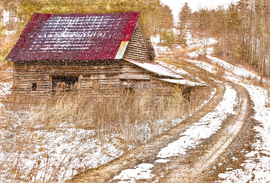 American Photograph - Red Roof In The Snow  by Debra and Dave Vanderlaan