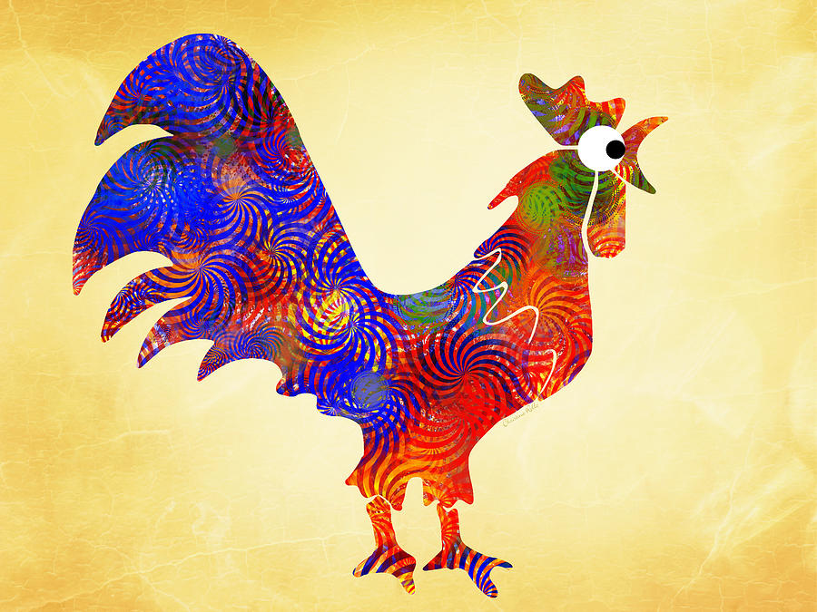 Rooster Mixed Media - Red Rooster Art by Christina Rollo