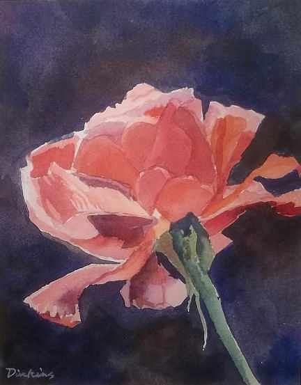 Floral Painting - Red Rose by Dill Dinkins