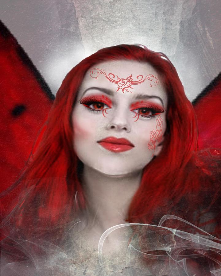 Fairy Digital Art - Red Rose Fairy by Diana Shively