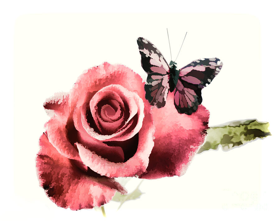 Red Rose Flower And Butterfly Painting In Color 3184.02 ...
