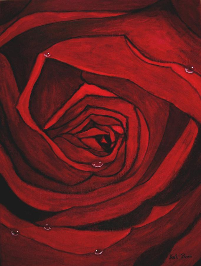 Red Painting - Red Rose  by Kat Poon