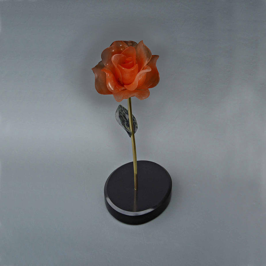 Flower Sculpture - Red Rose by Leslie Dycke