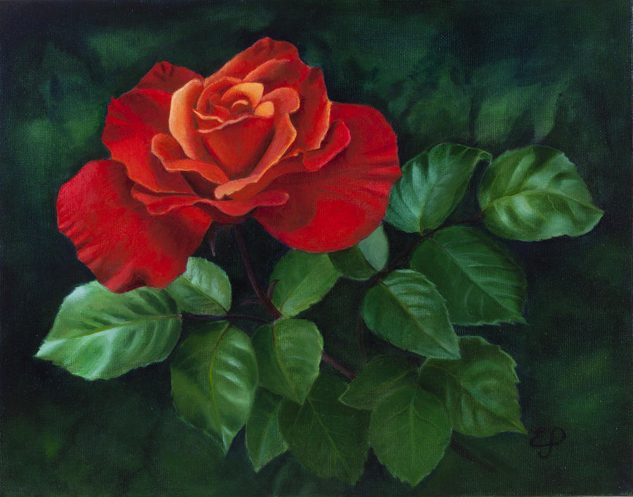 Red Rose Acrylic Painting