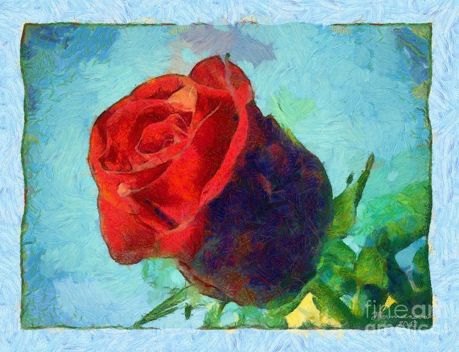 Rose Mixed Media - Red Rose On Blue by Dana Hermanova
