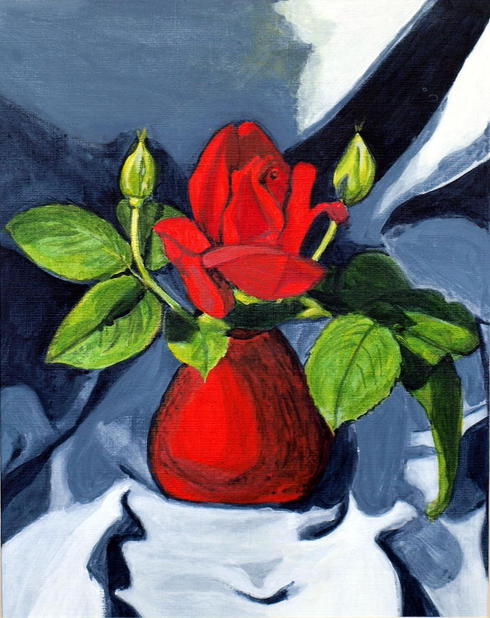 Rose Painting - Red  Rose by Vera Lysenko