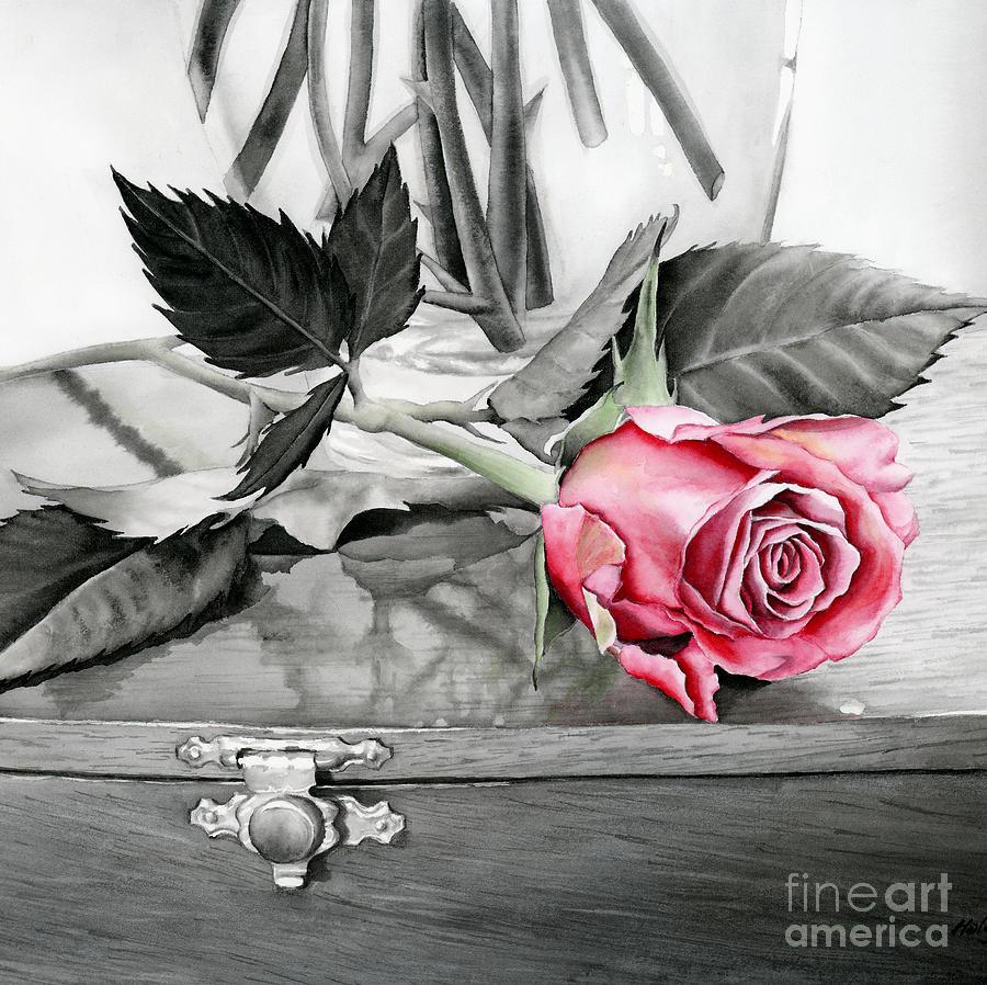 Red Rosebud Painting