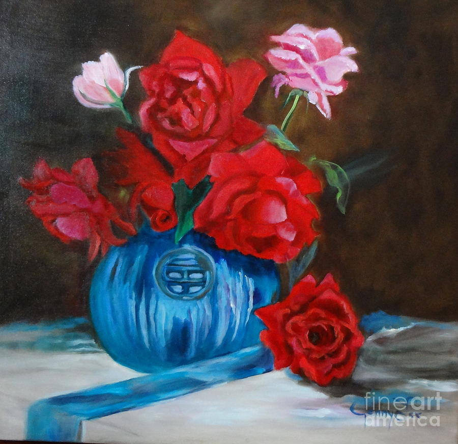 Red Roses And Blue Vase Painting By Jenny Lee