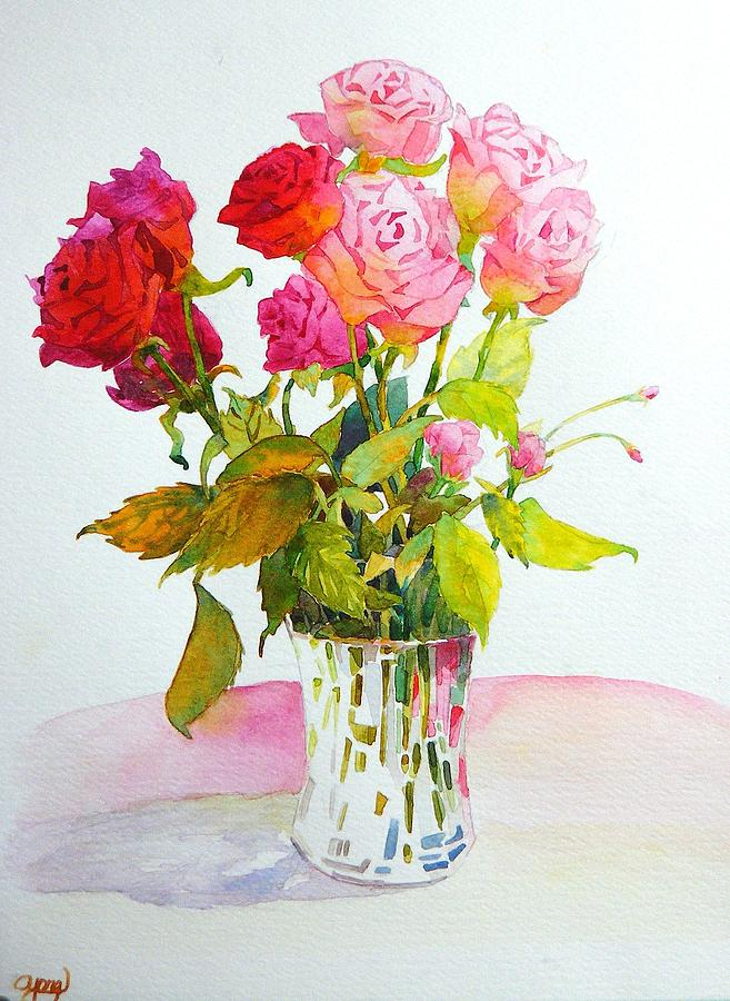 Red Roses Painting - Red Roses by Celine  K Yong