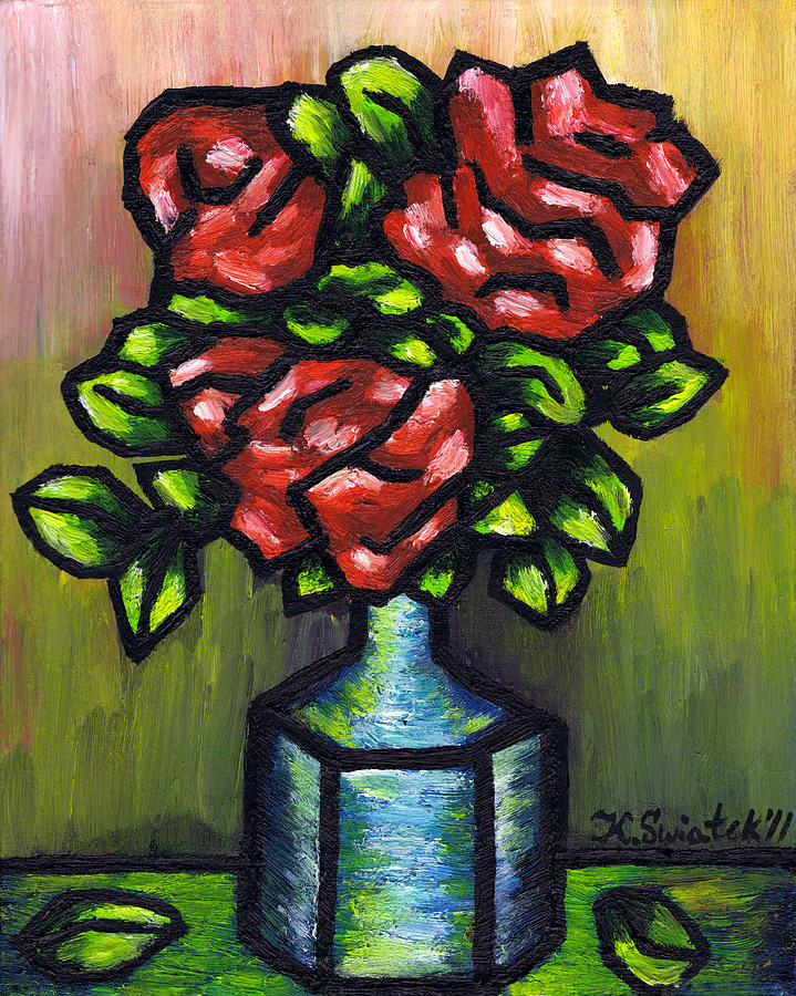 Red Roses Painting - Red Roses by Kamil Swiatek