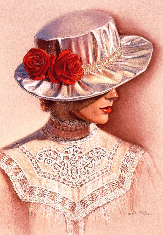 Victorian Lady Painting - Red Roses Satin Hat by Sue Halstenberg