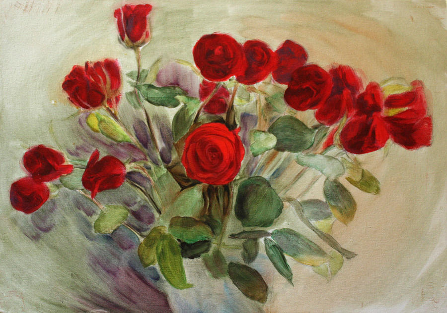 Red Roses Painting - Red Roses by Tanya Byrd