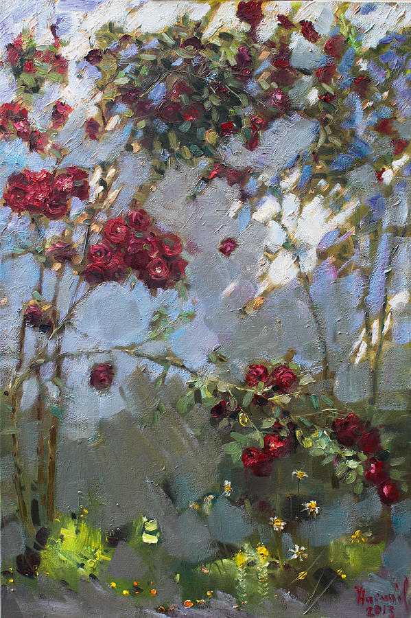 Red Roses Painting - Red Roses by Ylli Haruni