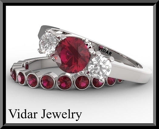 Gemstone Jewelry - Red Ruby And Diamond 14k Eternity Wedding Ring And Engagement Ring Set by Roi Avidar