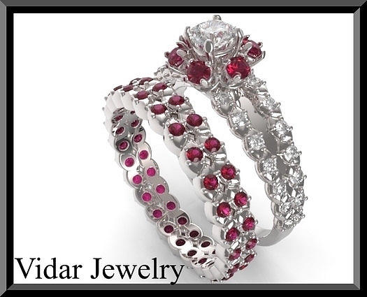 gemstone jewelry red ruby and diamond 14k halo wedding ring and engagement ring set by - Red Wedding Rings