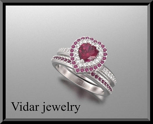 Gemstone Jewelry - Red Ruby And Diamond 14k Heart Wedding Ring And Engagement Ring Set by Roi Avidar