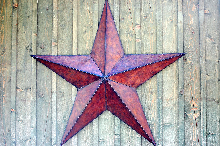 Red Rusted Star Photograph by Holly Blunkall