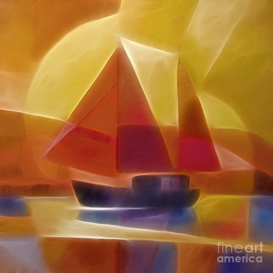 Sailing Digital Art - Red Sails by Lutz Baar
