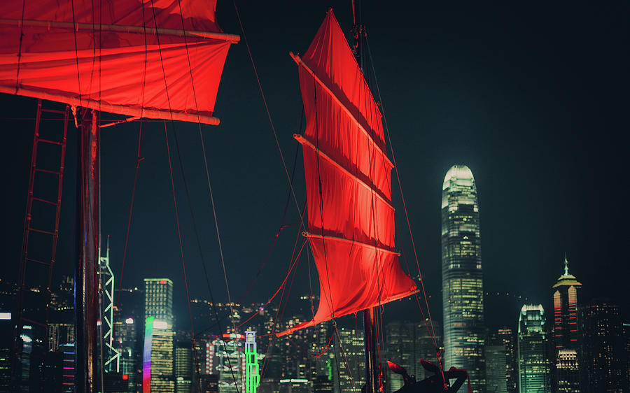 Red Sails Of Junk Boat Against Photograph by D3sign