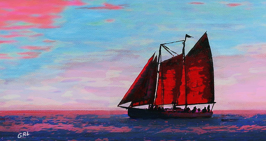 Boat Painting - Red Sails On The Chesapeake - New Multimedia Acrylic/oil Painting by G Linsenmayer
