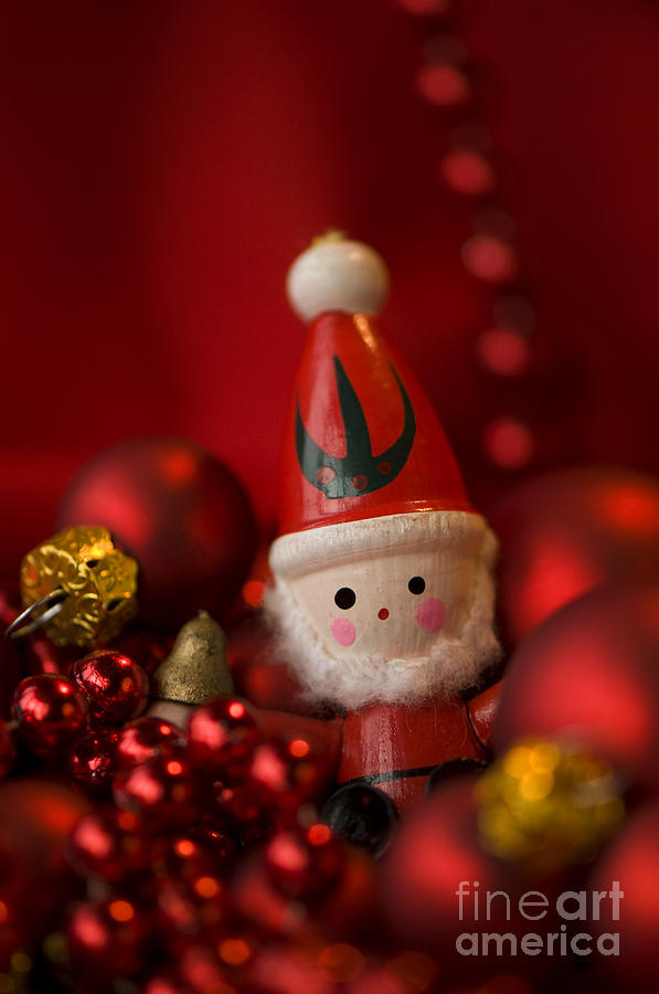 Baubles Photograph - Red Santa by Anne Gilbert
