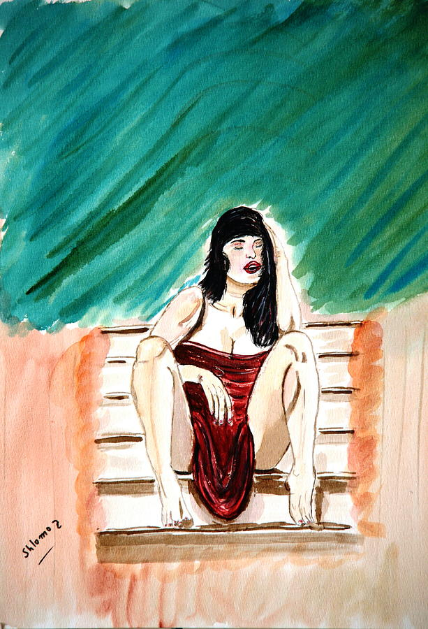 Nude Framed Prints Painting - Red Sexy Passion by Shlomo Zangilevitch