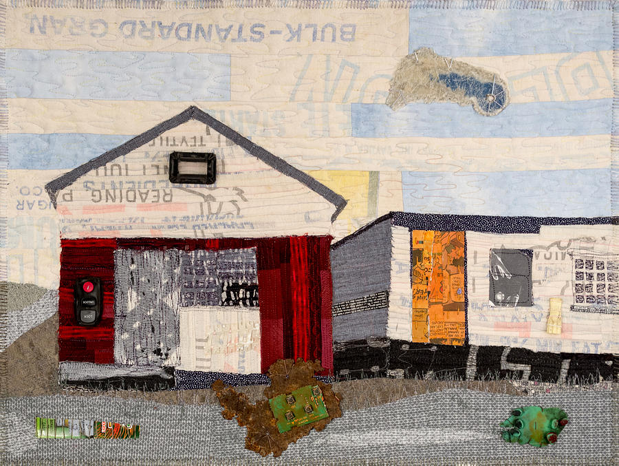 Art Quilt Tapestry - Textile - Red Shed Orange Door In Yellow House Pa by Martha Ressler