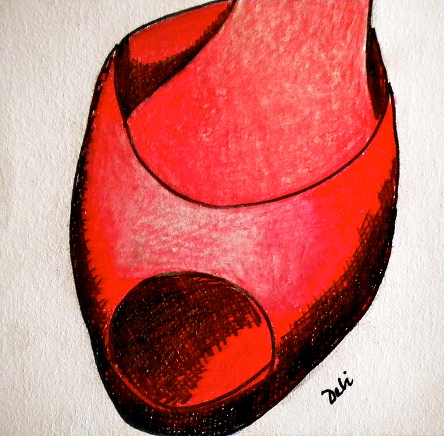 Red Painting - Red Shoe by Debi Starr
