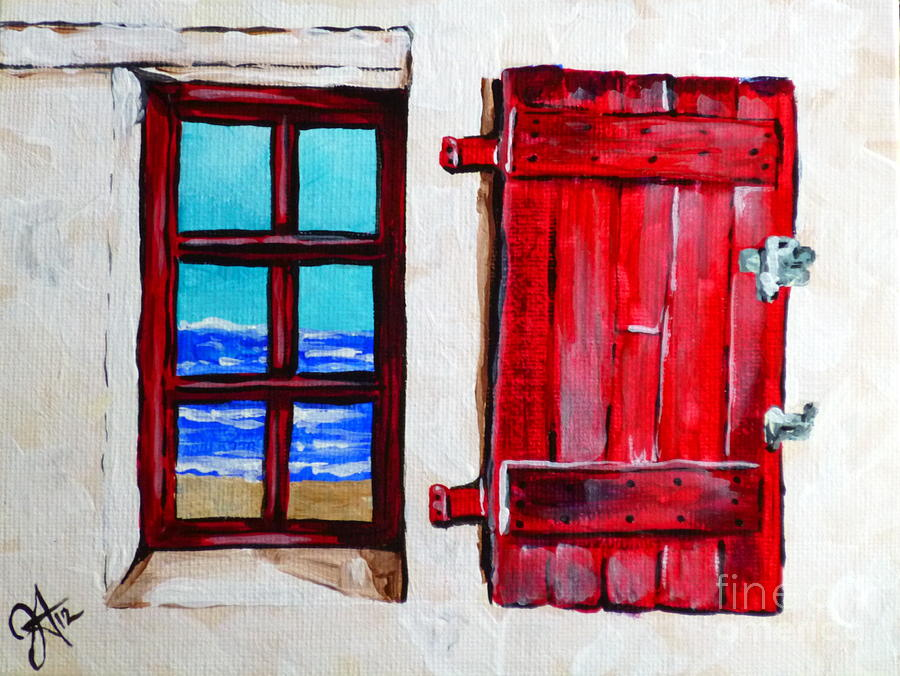 Red Painting - Red Shutter Ocean by Jackie Carpenter
