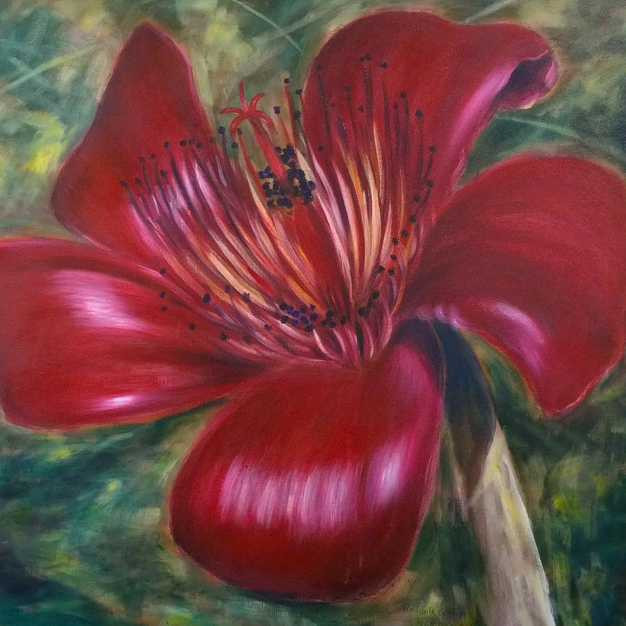 Flower Painting - Red Silk Cotten Bombex by Larry Palmer