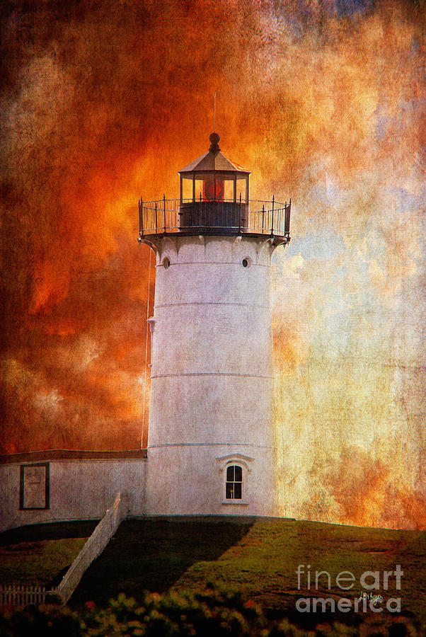 Lighthouse Photograph - Red Sky At Morning - Nubble Lighthouse by Lois Bryan