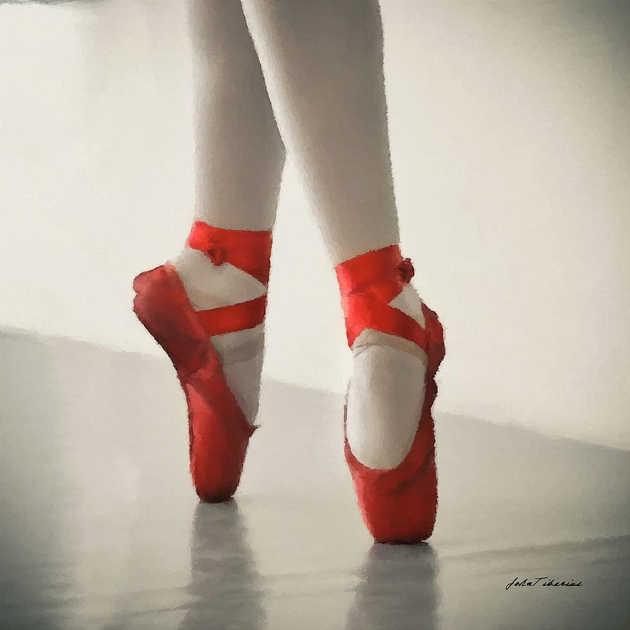 Ballet Painting - Red Slippers by Janos Szijarto