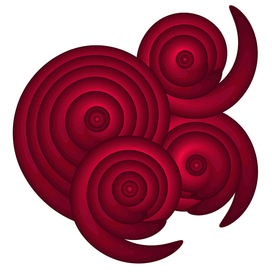 Red Painting - Red Spirals by Frank Tschakert