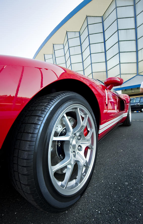 Adrenaline Photograph - Red Sport Car Wheel  by Ioan Panaite