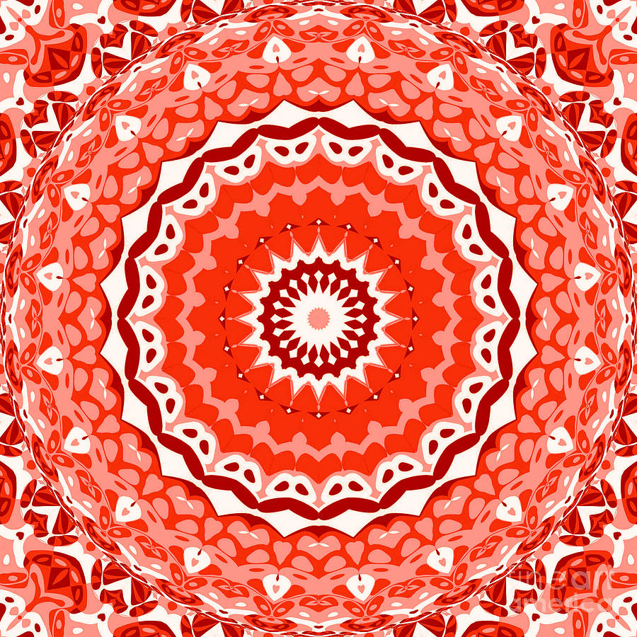 Abstract Digital Art - Red Star by Ron Brown