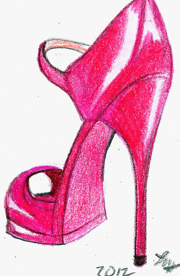 Red Stiletto Drawing By Loretta Nash