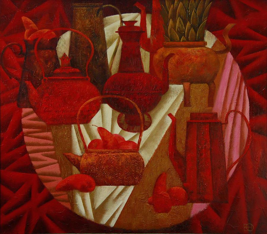 Still Life Painting - Red Still Life by Nadia Egorova