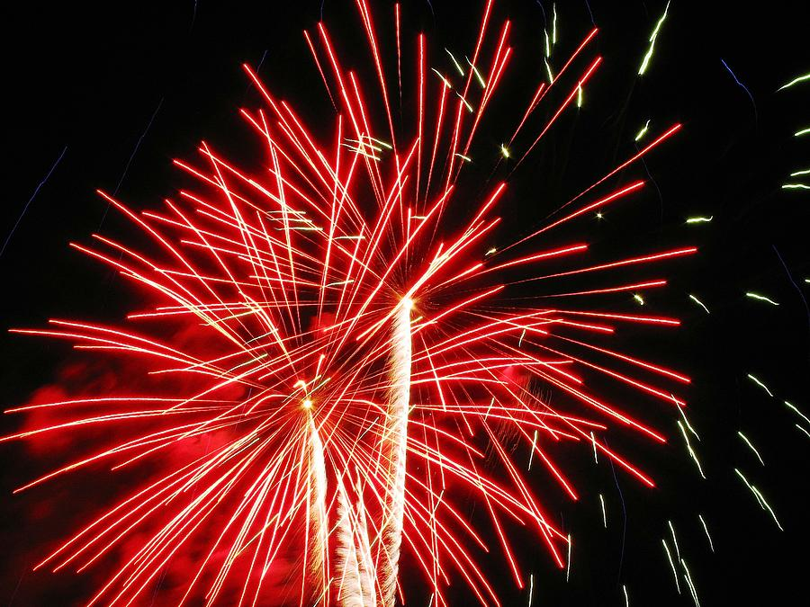 Fireworks Photograph - Red Streaks In The Night by Steven Parker