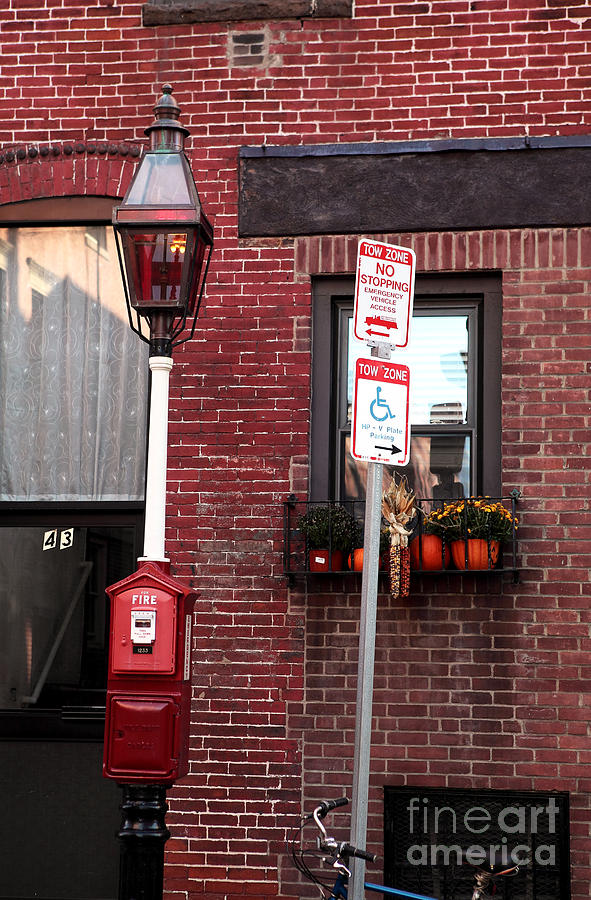 Brick Building Photograph - Red Street In Boston by John Rizzuto