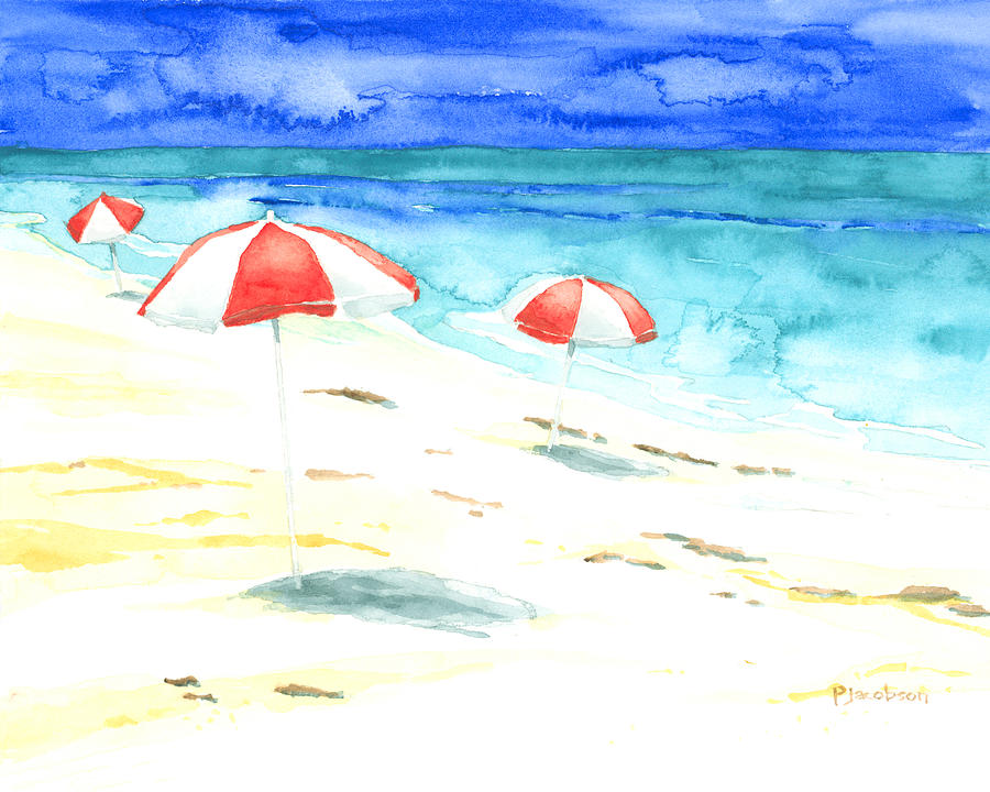 Beach Umbrellas Painting - Red Stripes by Pauline Walsh Jacobson