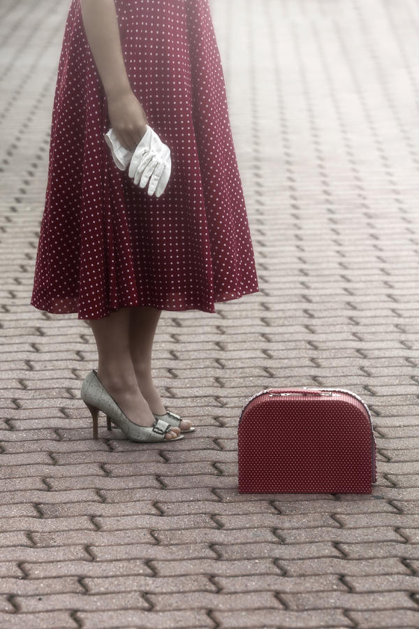Woman Photograph - Red Suitcase by Joana Kruse