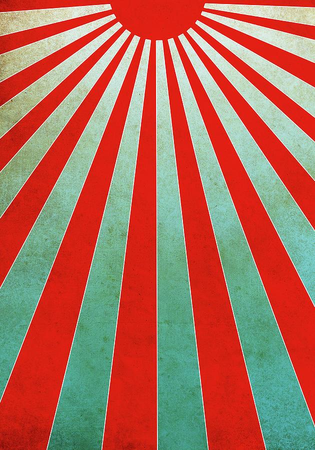 Red Sunbeams Illustration Digital Art by Malte Mueller