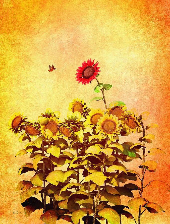 Sunflower Digital Art - Red Sunflower by Bob Orsillo