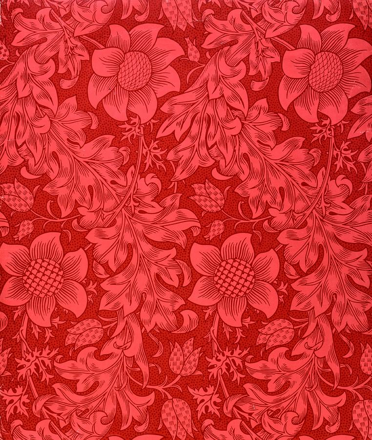 Red Sunflower Drawing - Red Sunflower Wallpaper Design, 1879 by William Morris