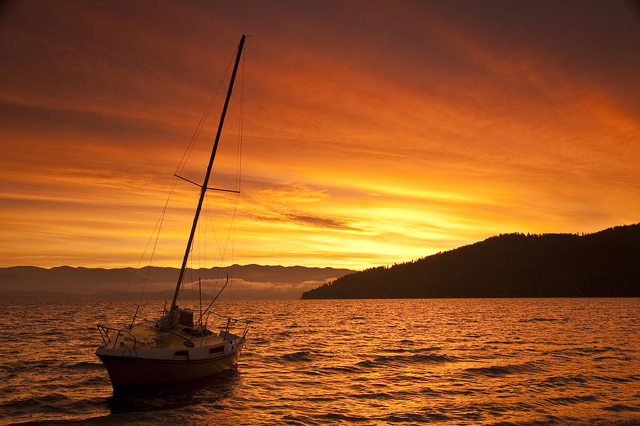 Sailboat Photograph - Red Sunrise by Randolph Fritz