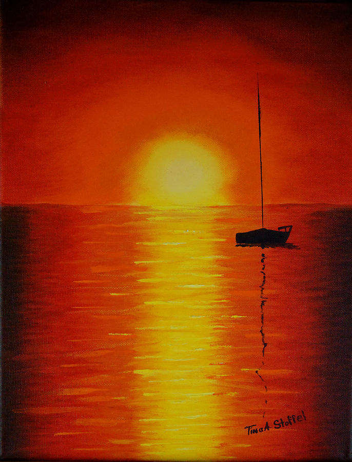 Oil Painting Painting - Red Sunset 1 by Tina Stoffel