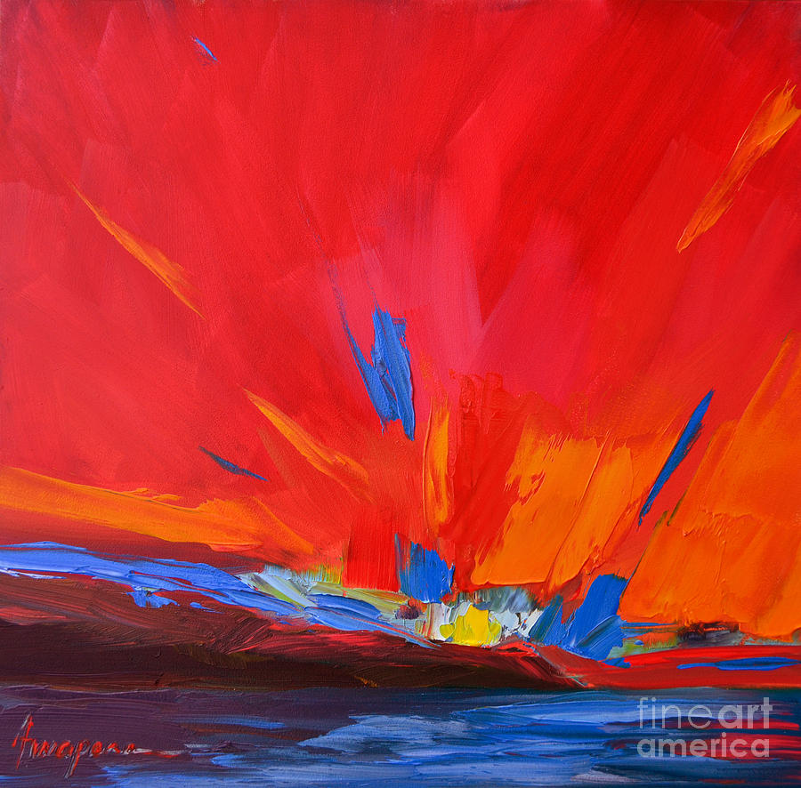 Red Sunset, Modern Abstract Art Painting by Patricia Awapara
